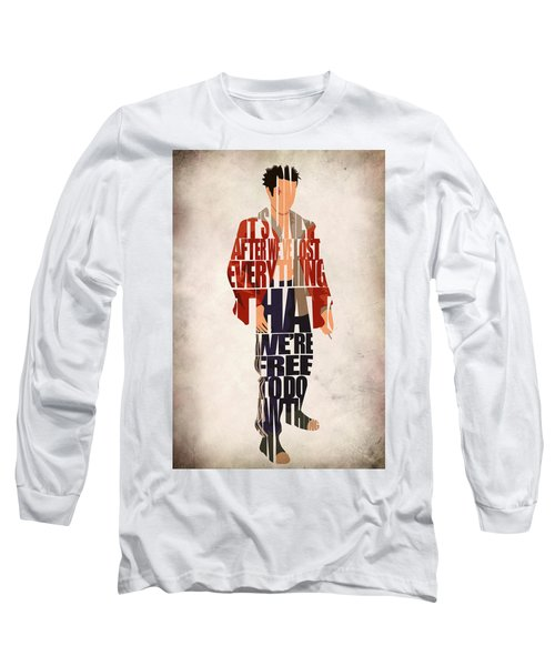 Tyler Durden Long Sleeve T-Shirt by Ayse Deniz