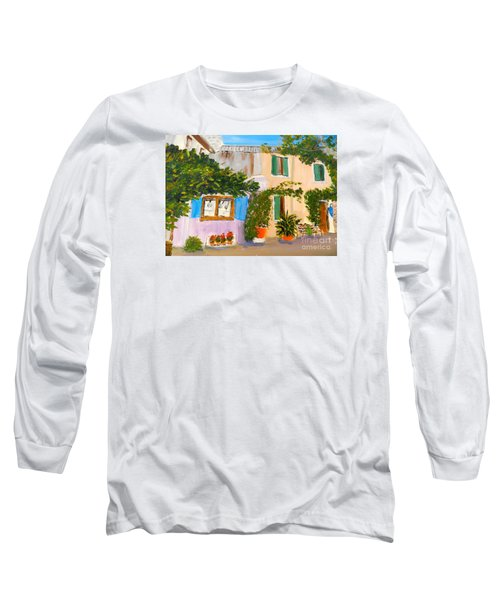 Long Sleeve T-Shirt featuring the painting Umbera Courtyard by Pamela  Meredith