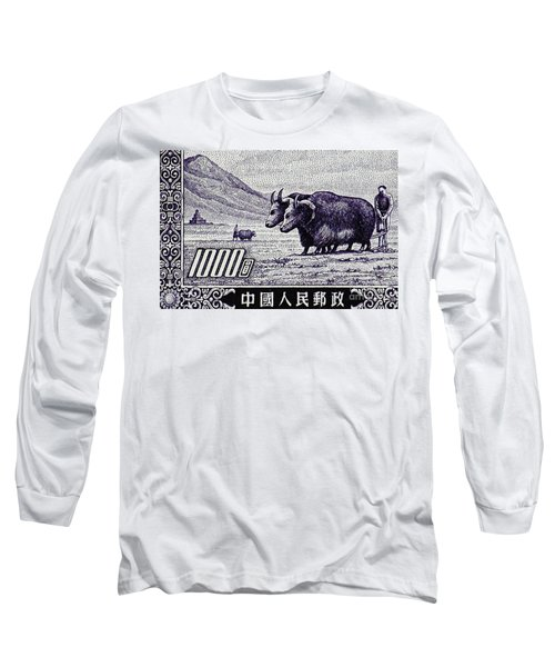 Under The Plough Vintage Postage Stamp Detail Long Sleeve T-Shirt by Andy Prendy
