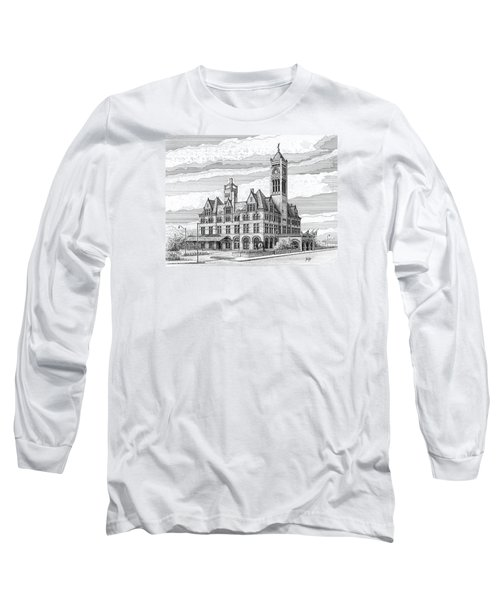 Long Sleeve T-Shirt featuring the drawing Union Station In Nashville Tn by Janet King