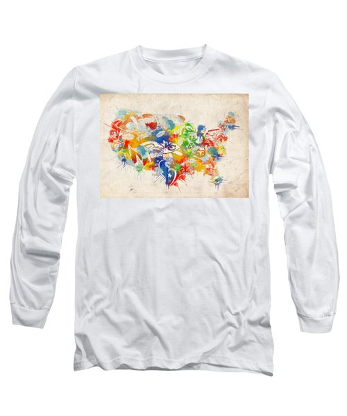 Usa Nfl Map Collage 12 Long Sleeve T-Shirt