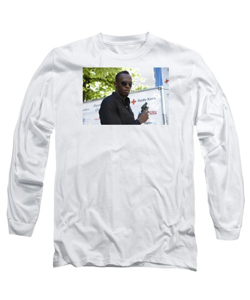 Long Sleeve T-Shirt featuring the photograph Usain Bolt - The Legend 4 by Teo SITCHET-KANDA