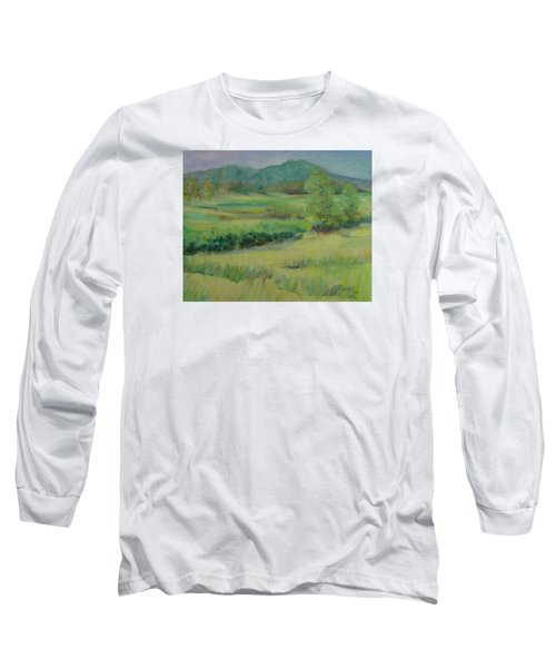 Valley Ranch Rural Western Landscape Painting Oregon Art  Long Sleeve T-Shirt