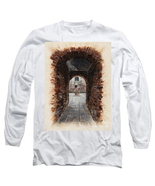 Long Sleeve T-Shirt featuring the painting Venetian Courtyard 01 Elena Yakubovich by Elena Yakubovich