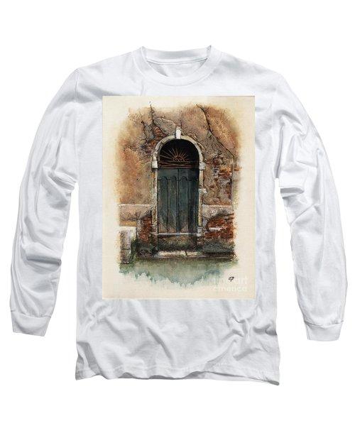 Long Sleeve T-Shirt featuring the painting Venetian Door 01 Elena Yakubovich by Elena Yakubovich
