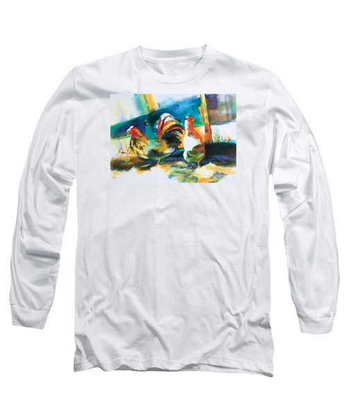 Long Sleeve T-Shirt featuring the painting Veridian Chicken by Kathy Braud
