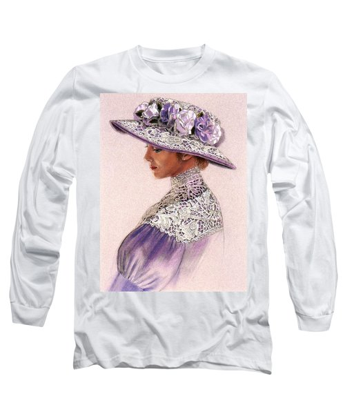 Victorian Lady In Lavender Lace Long Sleeve T-Shirt