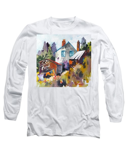 Long Sleeve T-Shirt featuring the painting Village Life 1 by Rae Andrews