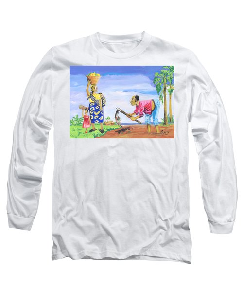 Long Sleeve T-Shirt featuring the painting Village Life In Cameroon 01 by Emmanuel Baliyanga