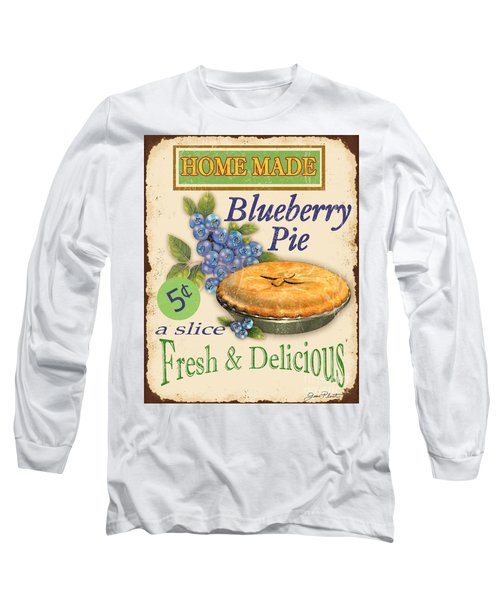 Vintage Blueberry Pie Sign Long Sleeve T-Shirt by Jean Plout