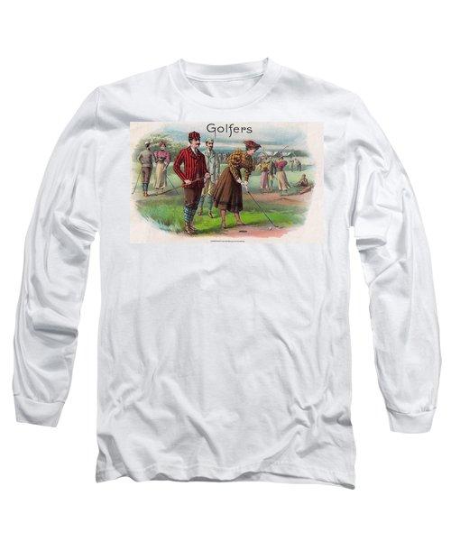 Long Sleeve T-Shirt featuring the digital art Vintage Golfers by Maciek Froncisz