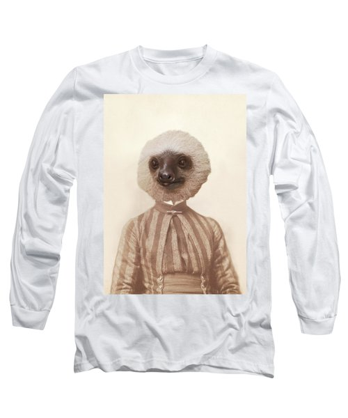 Vintage Sloth Girl Portrait Long Sleeve T-Shirt by Brooke T Ryan