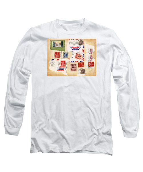 Long Sleeve T-Shirt featuring the photograph Vintage Stamps On Old Postcard by Vizual Studio