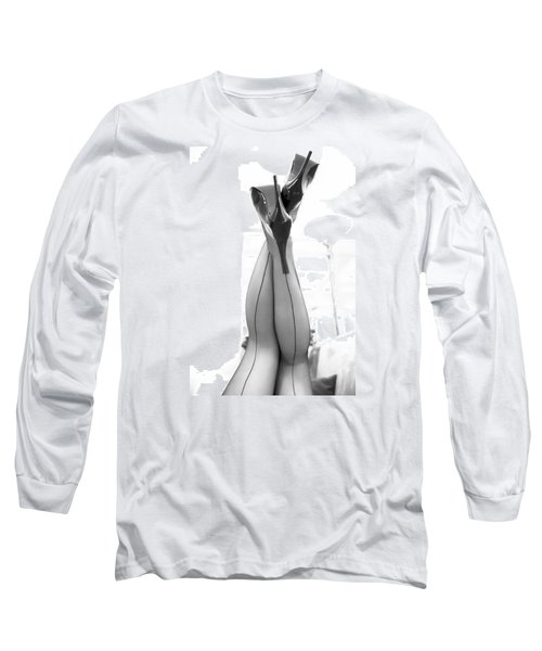 Long Sleeve T-Shirt featuring the photograph Vintage Stockinged Legs by Mez