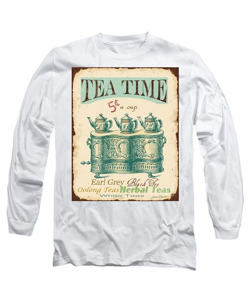 Vintage Tea Time Sign Long Sleeve T-Shirt by Jean Plout