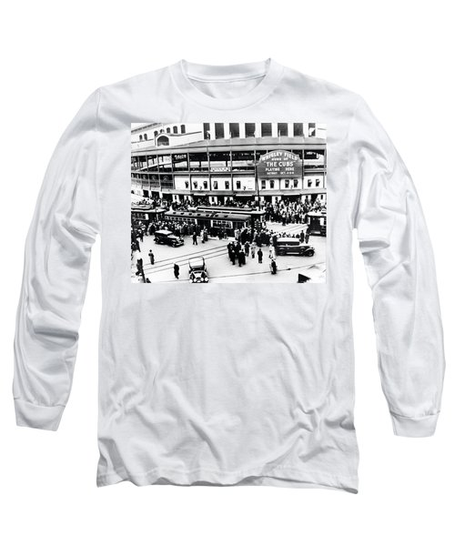Vintage Wrigley Field Long Sleeve T-Shirt by Bill Cannon