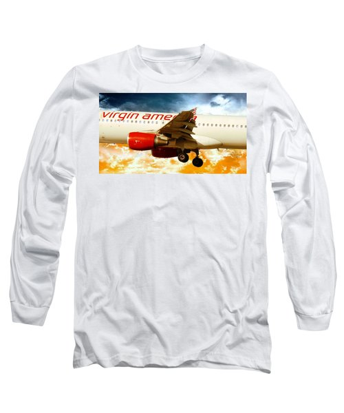 Airplane Long Sleeve T-Shirt featuring the photograph Virgin America A320 by Aaron Berg