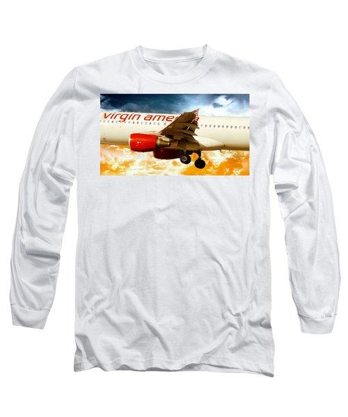 Long Sleeve T-Shirt featuring the digital art Virgin America A320 by Aaron Berg