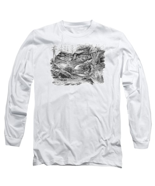Long Sleeve T-Shirt featuring the drawing Virginia Kendall Ledges - Cuyahoga Valley National Park by Kelli Swan
