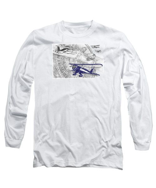 Waco Ymf - Vintage Biplane Aviation Art With Color Long Sleeve T-Shirt