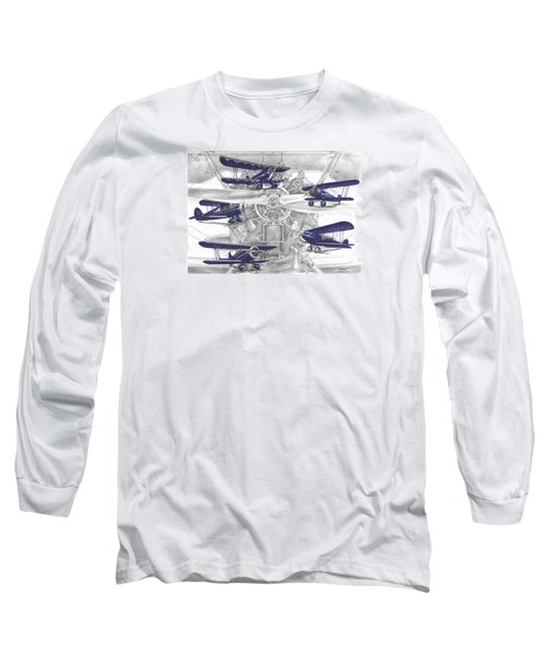 Wacos - Vintage Biplane Aviation Art With Color Long Sleeve T-Shirt