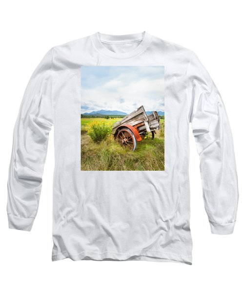 Long Sleeve T-Shirt featuring the photograph Wagon And Wildflowers - Vertical Composition by Gary Heller