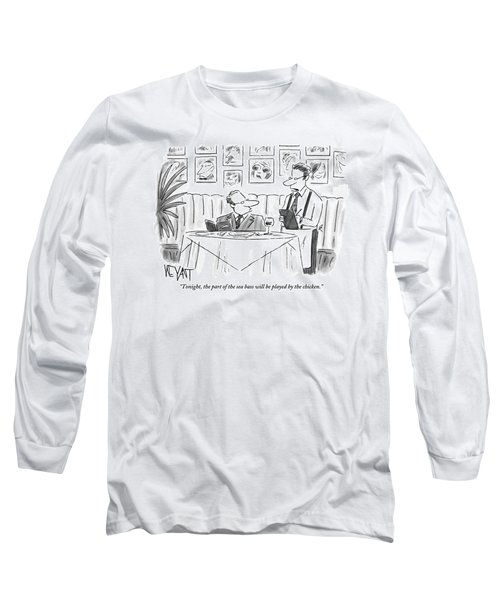 Waiter Reads The Specials To A Man At Dinner Long Sleeve T-Shirt