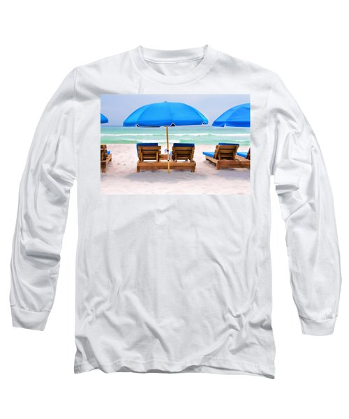 Panama City Beach Digital Painting Long Sleeve T-Shirt by Vizual Studio