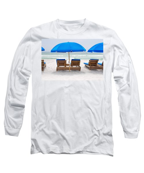 Panama City Beach Florida Empty Chairs Long Sleeve T-Shirt by Vizual Studio