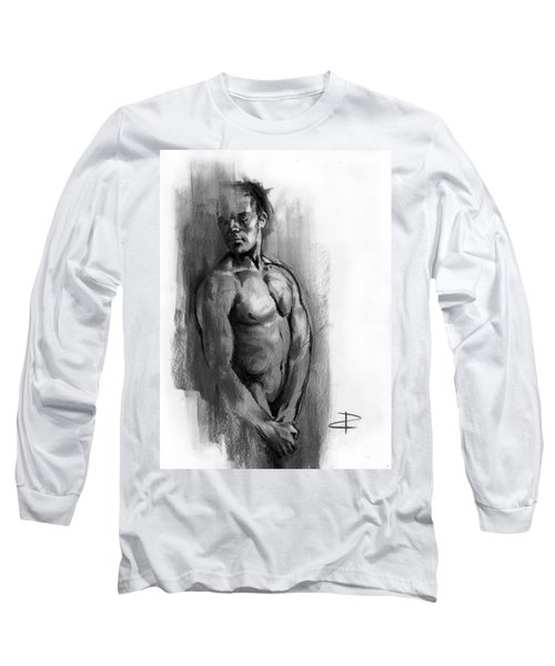 Long Sleeve T-Shirt featuring the drawing Waiting by Paul Davenport