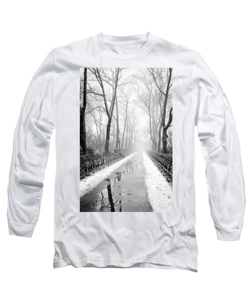 Walkway Snow And Fog Nyc Long Sleeve T-Shirt