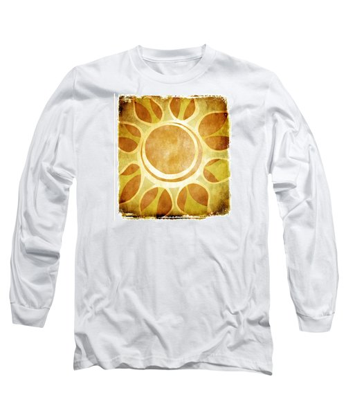 Long Sleeve T-Shirt featuring the drawing Warm Sunny Flower by Lenny Carter