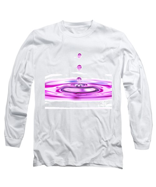 Water Droplets White And Purple Long Sleeve T-Shirt