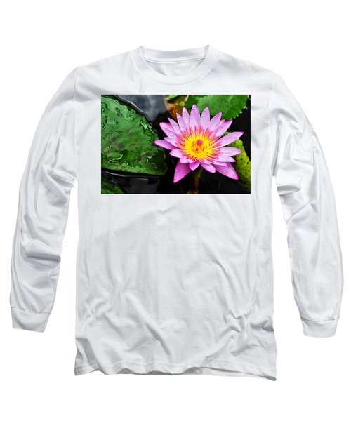 Water Lily Long Sleeve T-Shirt by Denise Bird