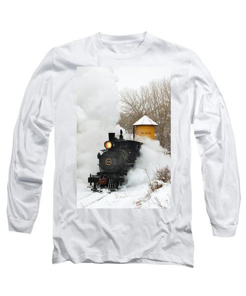 Water Tower Behind The Steam Long Sleeve T-Shirt by Ken Smith