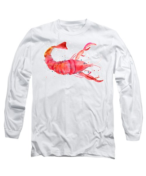 Watercolor Illustration Of Lobster Long Sleeve T-Shirt