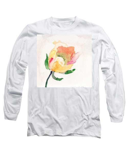 Watercolor Illustration With Beautiful Flower  Long Sleeve T-Shirt