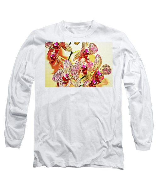 Long Sleeve T-Shirt featuring the photograph Watercolor Orchid Shadows by Judy Palkimas