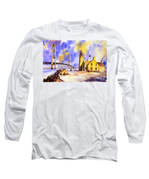 Watercolor Painting Of Ligthouse On Mackinaw Island- Michigan Long Sleeve T-Shirt