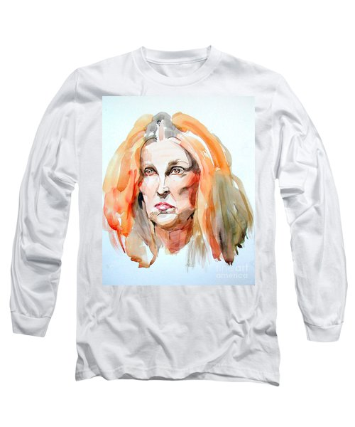 Long Sleeve T-Shirt featuring the painting Watercolor Portrait Of A Mad Redhead by Greta Corens