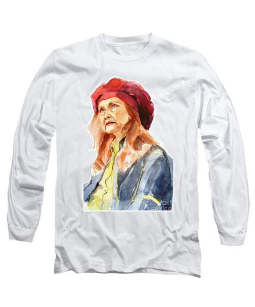 Watercolor Portrait Of An Old Lady Long Sleeve T-Shirt by Greta Corens