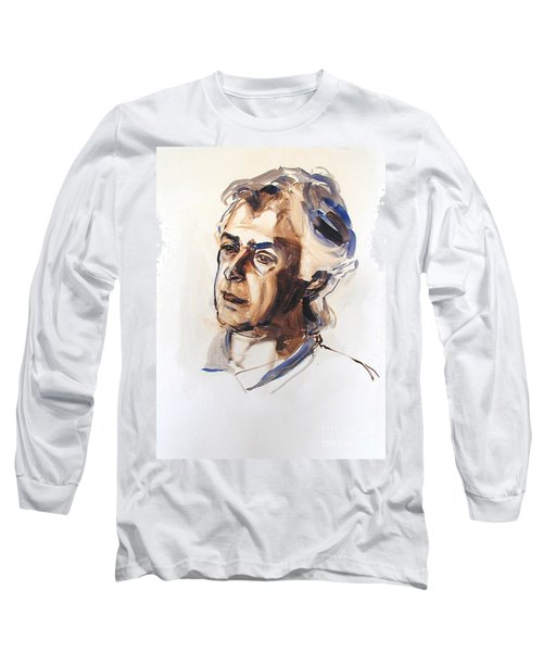 Long Sleeve T-Shirt featuring the painting Watercolor Portrait Sketch Of A Man In Monochrome by Greta Corens