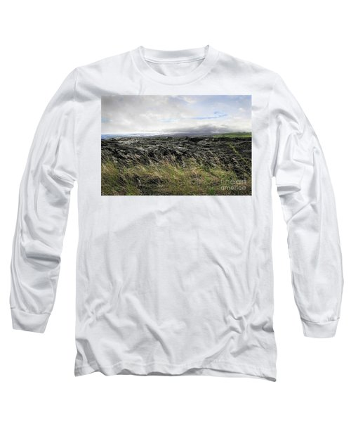 Long Sleeve T-Shirt featuring the photograph Waves Of Clouds Sea Lava And Grass by Ellen Cotton