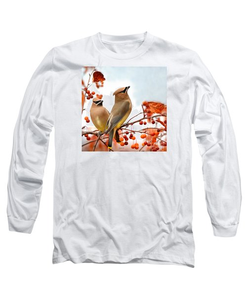 Beautiful Waxwing  Long Sleeve T-Shirt by Nava Thompson