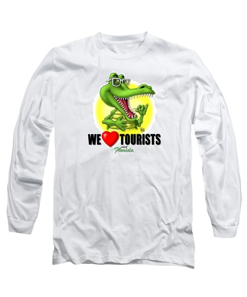 Long Sleeve T-Shirt featuring the digital art We Love Tourists Gator by Scott Ross