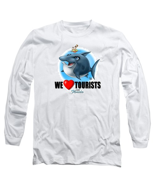 Long Sleeve T-Shirt featuring the digital art We Love Tourists Shark by Scott Ross
