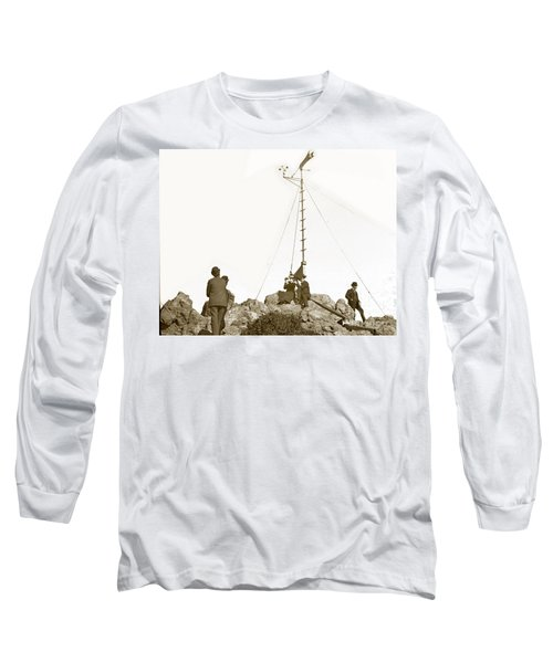 Long Sleeve T-Shirt featuring the photograph Weather Station Mount Tamalpais Marin County California Circa 1902 by California Views Mr Pat Hathaway Archives