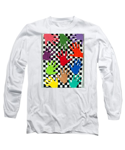 Long Sleeve T-Shirt featuring the painting Weave #5 Hands On by Thomas Gronowski
