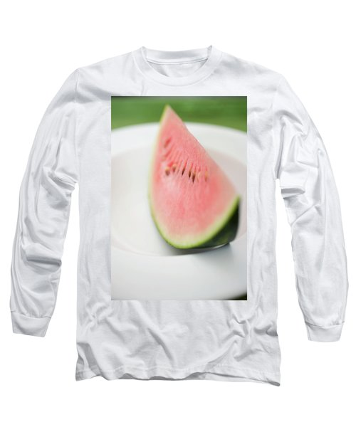 Wedge Of Watermelon On Plate Long Sleeve T-Shirt