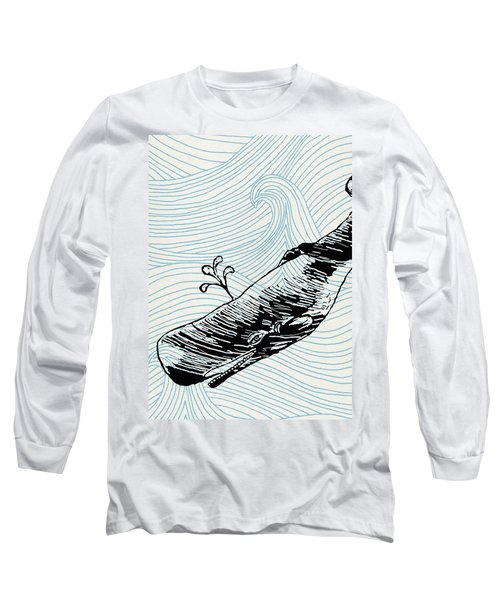 Whale On Wave Paper Long Sleeve T-Shirt